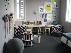 shades of grey & black playroom