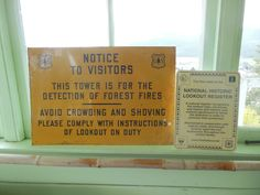 Signs in the Graves Mountain fire lookout.