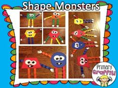 Shape Monster Craftivity- too cute!! math, primari graffiti, shape monster, idea, school, geometri fun, monsters, lesson plan, teach