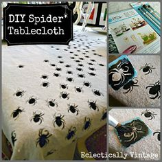 DIY Halloween Swarming Spider Tablecloth - be the hit of your dinner party! eclecticallyvintage.com