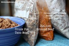 This Kitchen Tip Revolutionized my Cooking: Make ahead by Cooking Ground Beef in the Crock Pot then season and divide into baggies. Comes with recipe options.