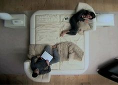Mobile Headboards Split Beds into Soft Sofas & Solo Spaces