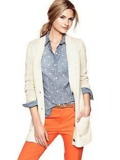 Long chunky cardigan | Gap --> Loving this slouchy, long cardigan for fall! So cute with riding boots and skinny jeans!