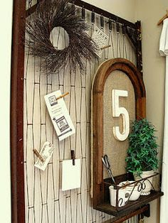 Use old bed springs to clothespin jewelry, artwork, or business cards to for craft shows!