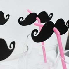 Pink and Black Mustache Straws
