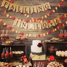 "not a fan of the ""falling in love"" but the tablescape is pretty as are the leaves! #fallwedding #autumnwedding #weddingdecor #weddinginspirations #wedding #fallcolors #autumn #weddingtrends #decorations"