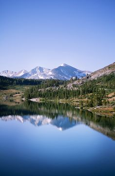 Mammoth Lakes, California.  #photography #nature #landscape #sky #mountains #trees #lake #water #pretty