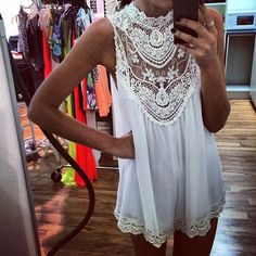"""Everafter Lace Neck Blouse""..restocking..follow us for inventory update!!#shopdailychic"
