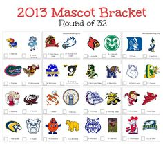 Check out the second version of our 2013 mascot bracket.  Have fun filling these out on Saturday and enjoy this weekend's games.