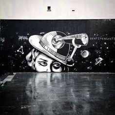 """by Dourone, part of his ""Sentipensante"" series of walls in Paris, 2014 : via his fb"""