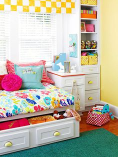 Love how storage is maximized in this children's space through pretty built-ins!
