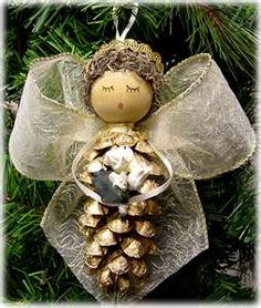 Lace and pine cone angel ornament