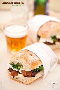 Sausage, broccoli and brie sandwich