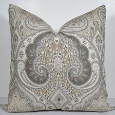 Kravet Paisley Limestone Pillow Cover - Decorative Pillow Cover - throw pillow - accent pillow - 20 x 20