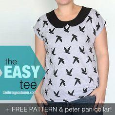 the easy tee {add a peter pan collar} + freepattern!