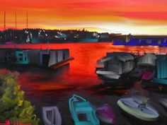 Lake Union Red Sky Painting Lee Gallaher