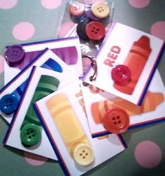 color matching game for busy bag.  put velcro on cards and buttons to help them stick in the car....