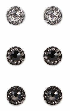 Deb Shops Set of Three Pairs of Circle Stone #Earrings $6.67