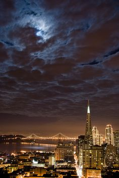 San Francisco under the full moon by canbalci, via Flickr