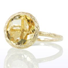 Twig Wood Grain Design Bezel Set Yellow Citrine Gold Solitaire Engagement Canary Wedding Ring - LoveItSoMuch.com Yellow Citrine, Sets Yellow, Design Bezel, Citrine Gold, Grains Design, Bezel Sets, Wood Grains Rings, Bling Bling, Engagement Rings