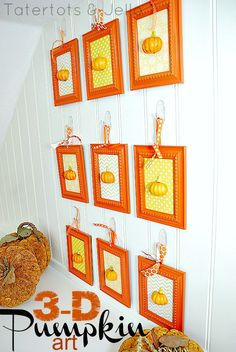 3-d pumpkin art wall
