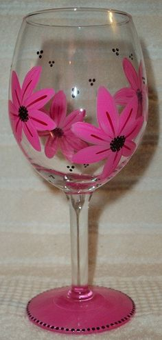 Hand Painted Wine Glass flowers