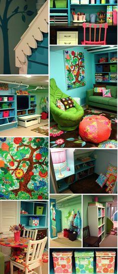 Basement playroom Colors Playrooms, Basements Playrooms, Playrooms Ideas, Plays Rooms, Kids Spaces, Kids Corner, Kid Rooms, Bright Colors, Kids Rooms