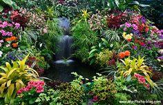 Butchart Gardens waterfall, Victoria, B.C.