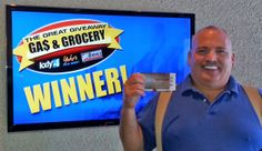 David Scruton won $100 in The Great Gas & Grocery Giveaway from KXLY4, Divine's & Yokes.