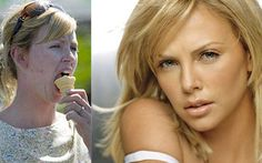 Charlize Theron without makeup/photoshop and with photoshop