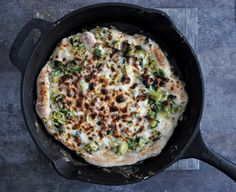 Cast Iron Skillet Brussels Sprouts Bacon Pizza