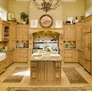 Traditional Light Wood Kitchen. Decor above cabinets