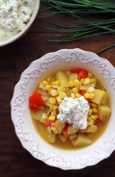 Summer Vegetable Corn Chowder Chive Ricotta