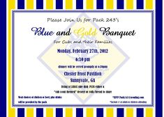 Cub scoutblue and gold birthday party ideas party for Cub scout blue and gold program template