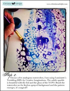 lay lace on paper, spray with clear gloss spray, remove lace, paint with watercolors