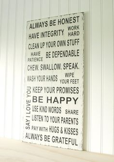 house rules - says it all!!! :-)