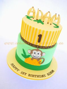 Cheeky Monkey 1st Birthday Cake - by CakeMeToYourParty monkey 1st, banana, celebr cake, monkey cakes, cheeki monkey, cake decor, 1st birthday cakes, 1st birthdays, birthday monkey cake