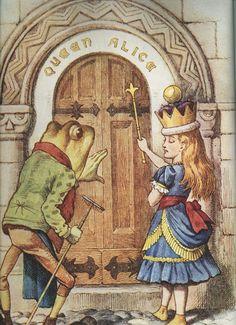 frog, alice in wonderland, glass, book illustrations, queen alic