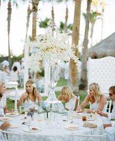 All white outside wedding reception! Gorgeous!