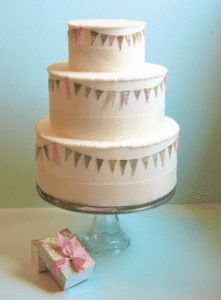 Paper garland draped around a cake... How cute is that?!