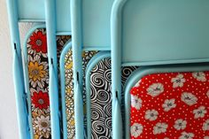 Spray paint old folding chairs and reupholster seats with fun fabric! Fun for extra chairs to bring out for guests