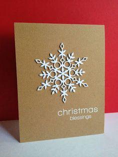 Snowflake on brown card  #christmascard