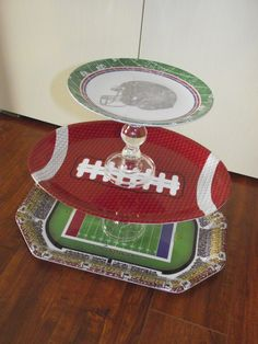Football inspired server!  Made with candle stick holders, plates, and hot glue!