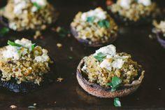 lemony, herb + quinoa baked mushrooms