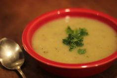 Vegan potato leek soup.  I have to try this!