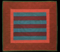 Rebecca Zouk, Bars, quilt, ca. 1910, Pennsylvania.  Look at the quilting on this one. bar quilt, amish quilts