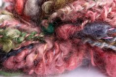 Handspun mohair and cotton yarn Variegated color 2 by MyLadysHand, $15.95