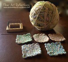 Fiber Art Reflections: 2-Inch Pin Loom Squares and Handspun Yarn