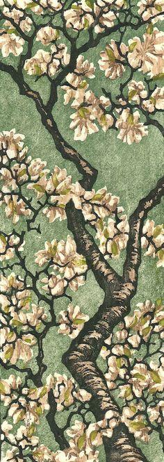 Tulip Magnolia Woodblock Print.