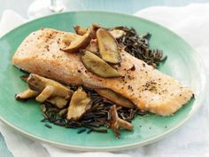 Salmon with Shiitake and Red Wine Sauce | KitchenDaily.com